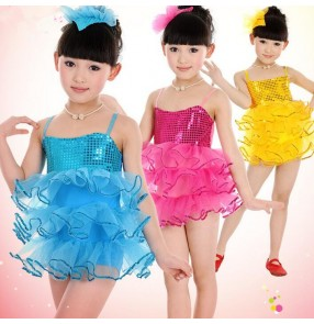 Gold blue fuchsia Girls kids child children paillette sequined strap backless latin dance dresses modern dance stage performance dance dresses