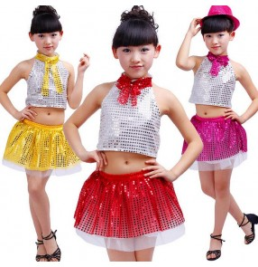 Gold fuchsia red Girls child children kids baby paillette sequined modern dance stage performance jazz dance costumes dresses set