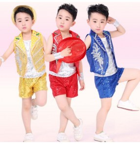Gold red royal blue silver patchwork summer sleeveless sequined boys toddlers baby child children kids stage performance play outfits jazz dance hip hop dance costumes clothes
