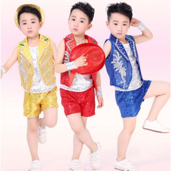 3338bff41 Gold red royal blue silver patchwork summer sleeveless sequined boys  toddlers baby child children kids stage performance play outfits jazz dance  hip hop ...