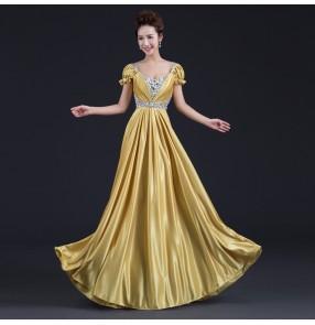 Gold red Women's v neck A-line puff short sleeves beaded  long length evening  dress wedding party bridal  dress