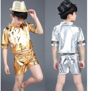 Gold silver fuchsia hot pink boys girls kids stage performance child children kindergarten teen growth pu leather jazz dance costumes hip hop dance play outfits