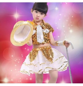 Gold white royal blue white patchwork sequined paIllette girls kids child children toddlers modern dance stage performance hip hop  jazz dance costumes dresses outfits