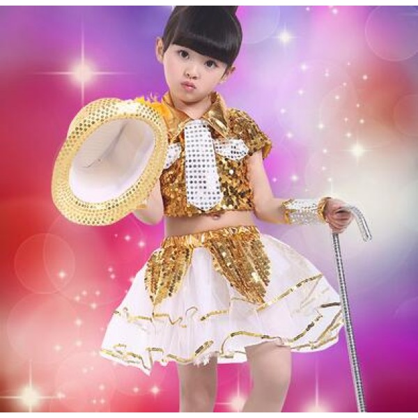 aa8dc2ff2 Gold white royal blue white patchwork sequined paIllette girls kids child  children toddlers modern dance stage performance hip hop jazz dance costumes  ...