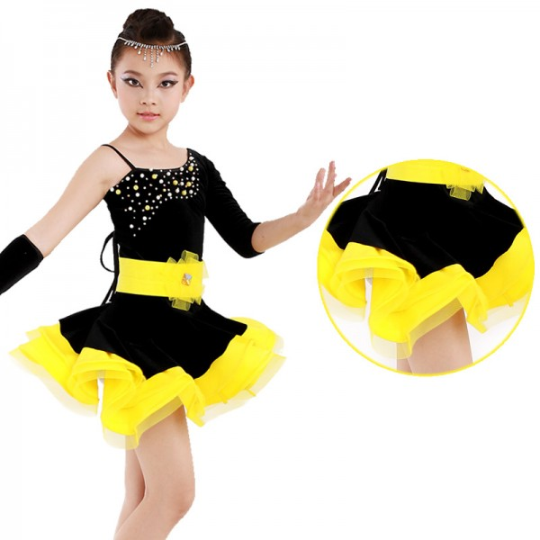 ea493e5f7456b Gold yellow fuchsia Girls children child kids baby one shoulder sleeves  rhinestones competition latin dance dresses ballroom salsa cha cha dance  dresses
