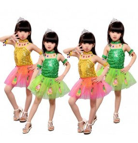 Gold yellow green paillette girls kids child children toddlers baby growth peacock modern dance stage performance leotard tutu skirt jazz dance costumes dresses clothes