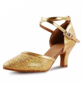 Golden pink violet purple silver women's ladies female paillette upper closure toe soft cow leather sole competition professional latin waltz tango dance shoes