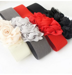 Gray white red black ivory brown Women's chiffon flower appliques dresses waistband sashes latin dance ballroom dance accessories