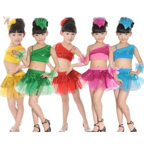 Green blue yellow gold fuchsia red Girls kids child children separate two pieces paillette sequined one shoulder competition exercises latin dance dresses