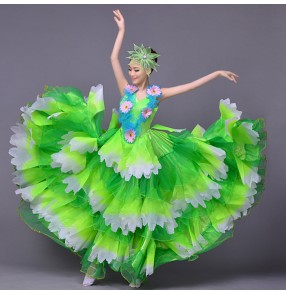 Green flowers spring summer big swing skirted  sleeveless modern dance stage performance womens women's ladies female bull dance spanish flamenco dance dresses dancing costumes dresses chorus dancing 540 degrees