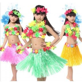 Green fuchsia green rainbow Girls kids children child baby grass hula belly dance modern dance stage performance grass dance dresses costumes jazz dance dresses