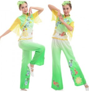 Green fuchsia light blue gradient colored womens girls  ladies female women's short chiffon sleeves Chinese folk dance costumes traditional ancient dance dresses top and pants
