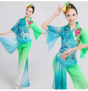 Green fuchsia Women's Chinese folk dance costumes fans dance traditional ancient dance clothes cos play stage performance dance dresses
