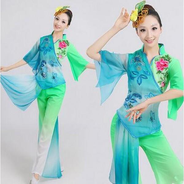 4f4b1ed93 Green fuchsia Women s Chinese folk dance costumes fans dance ...