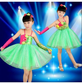Green Girls child kids children baby paillette sequined backless with gloves exercises competition modern dance professional latin dance dresses