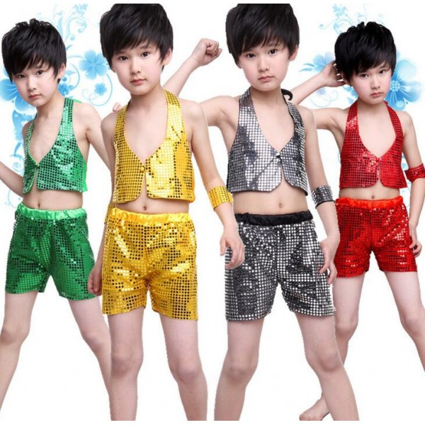 685758e8f807 Green gold black red Boys child children kids paillette sequined ...