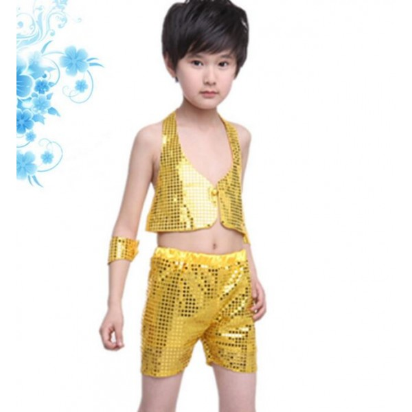 81eac93375db Green gold black red Boys child children kids paillette sequined separate  shorts and top modern dance jazz dance costumes dance wear sets