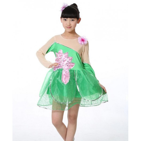 Green Lotus colored Long sleeves girls kids child children kindergarten  toddlers modern dance princess stage performance cos play jazz dance singer  dj