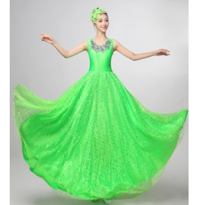 Green paillette sequined sleeveless v neck summer spring women's ladies female long length modern dance opening dancing chorus spanish bull dancing flamenco dance dresses 180degrees