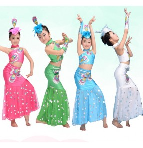Green white fuchsia  sequined one shoulder girls kids child children baby toddlers practice peacock dance stage performance modern dance cos play chinese folk dance costumes mermaid dresses sets