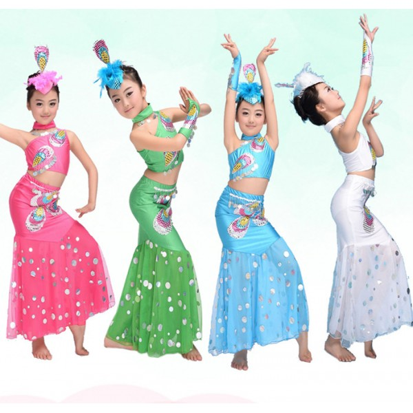 2c8934559 ... girls kids child children baby toddlers practice peacock dance stage  performance modern dance cos play chinese folk dance costumes mermaid  dresses sets