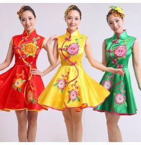 Green yellow red girls womens women's ladies female sleeveless ancient Chinese folk dance traditional yangko fan dance costumes dresses
