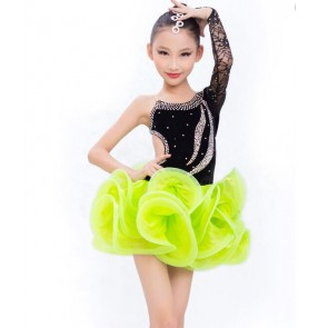 Hand made Black lace rhinestone neon green patchwork one shoulder sleeves gymnastics  competition professional girls kids child children growth backless latin samba salsa cha cha dance dresses