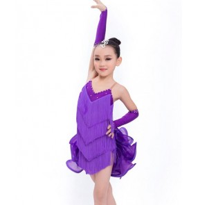 Hand made Violet purple Sleeveless rhinestones girls kids child children growth fringes tassels competition professional latin samba salsa cha cha dance dresses with gloves