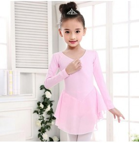 Hot pink light pink purple violet fuchsia light blue chiffon tutu skirt girls kids child children toddlers leotard growth gymnastics practice long sleeves latin ballet dance dresses costumes