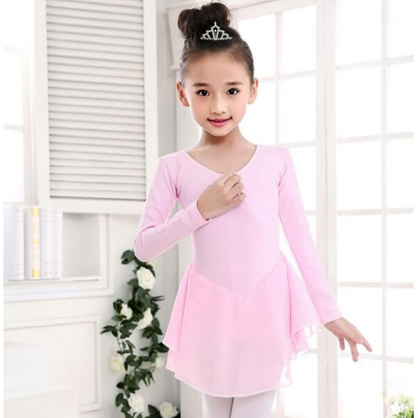 951aa509009b ... light blue chiffon tutu skirt girls kids child children toddlers  leotard growth gymnastics practice long sleeves latin ballet dance dresses  costumes