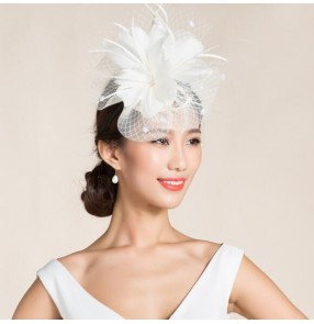 Ivory black feather veil  sinamay linen womens ladies female fashionable dress hats wedding party bridal pillbox top hats evening headwear dress head piece