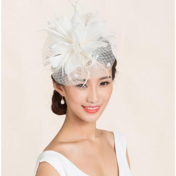 Ivory black feather veil sinamay linen womens ladies female fashionable dress  hats wedding party bridal pillbox top hats evening headwear dress head piece 0d89576175a