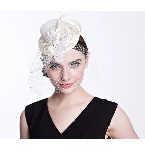 Ivory  pillbox feather fasinators sinamay wedding hat
