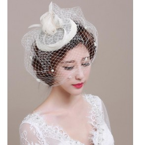 Ivory sinamay linen womens girls ladies fascinators wedding party bridal evening event pill box hats fedoras hair clip top hats head piece headwear