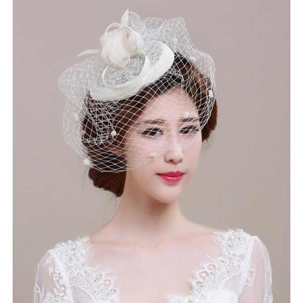 Ivory sinamay linen womens girls ladies fascinators wedding party bridal  evening event pill box hats fedoras hair clip top hats head piece headwear 92cf4d7528d