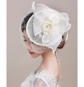 Ivory sinamay linen womens women's ladies handmade  European England style female  wedding party evening event fascinators veil bridal pill box wedding dress top hats fedoras headwear