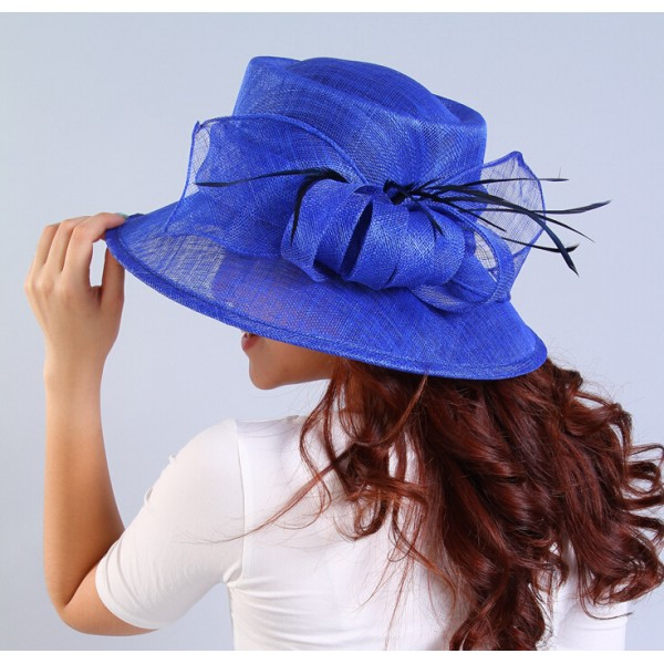 Ivory Sinamay Turquoise Fuchsia Royal Blue Fascinator Hat For Kentucky Derby Wedding Races Party Church