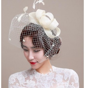 Ivory sinamay womens ladies female 100% linen veil fascinators wedding party event bridals fedoras head piece head wear hair clip dress hats