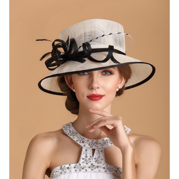 b716d3bd Kentucky Derby Hat Sunhat Sinamay Church Hat White Black
