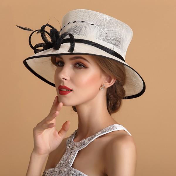 Kentucky Derby Hat Sunhat Sinamay Church Hat White Black e62db1d09db
