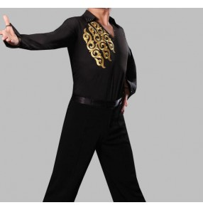 Kids Black long sleeves v neck gold printed rhinestones leotard men's male competition performance latin ballroom flamenco waltz tango dance tops shirts