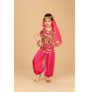 Kids children girls belly dance costume  top and pants  and waistband