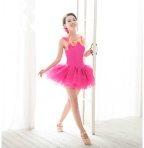 Kids girls adult fuchsia leotard tutu skirt ballet dance dress