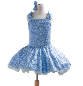 Kids girls blue tutu leotard skirt ballet dance dress blue backless