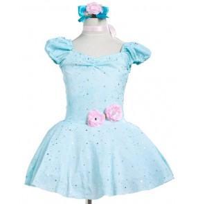 Kids girls blue tutu skirt ballet dance dress
