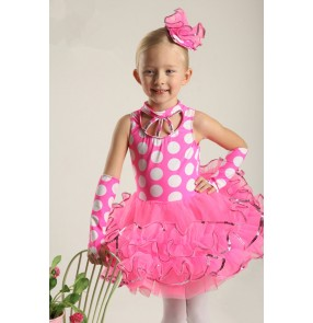 Kids girls fuchsia polka dot ballet dance dress organza layers sequin leotard Tutu Skirt