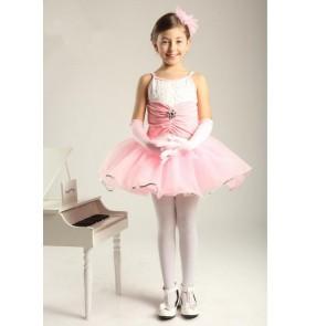 Kids girls pink leotard skirt ballet dance dress