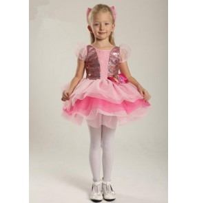 Kids girls pink sequin leotard tutu skirt ballet dancing dress