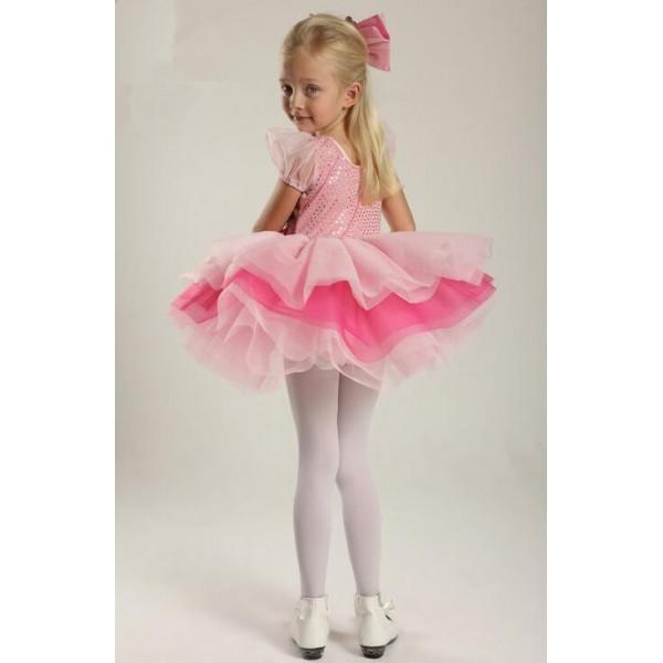 d4644d85c5 Kids girls pink sequin leotard tutu skirt ballet dancing dress