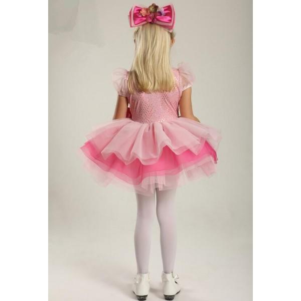 6b34ff96b657 Kids girls pink sequin leotard tutu skirt ballet dancing dress